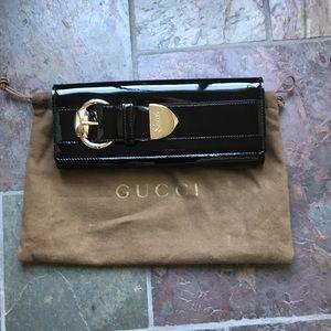 Gucci Romy black patent clutch